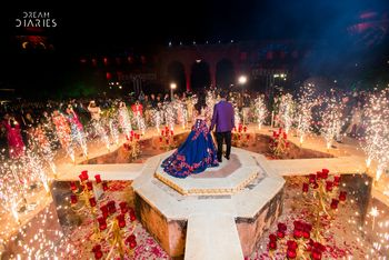 Photo of Fireworks at bride and groom entry around stage