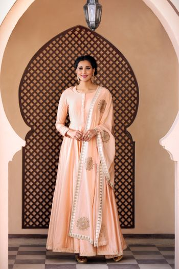 Peach anarkali suit with gold work