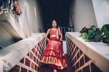 A beautiful bridal shot in red silk lehenga.