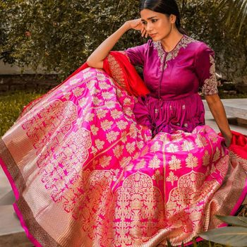 Photo of jayanti reddy bright pink banarasi lehenga