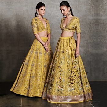 Bright yellow & gold lehenga for a day mehendi or sangeet.