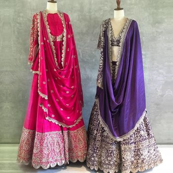 Photo of Vibrant pink anarkali with detailing and purple lehenga with silver work.