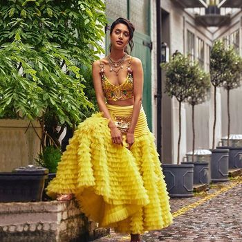 yellow lehenga for a Mehendi or engagement