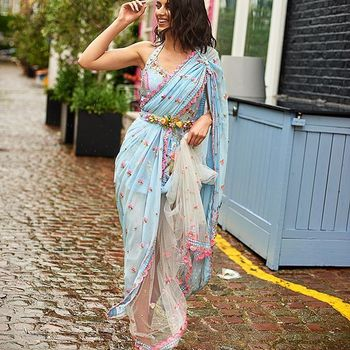 draped sari for modern bridesmaids