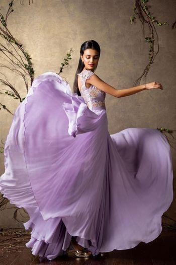 Floor-length pastel gown