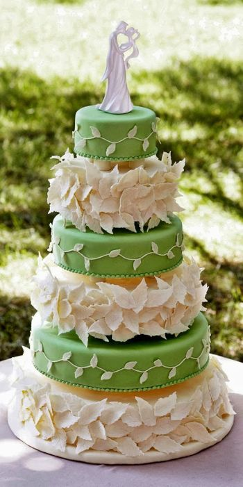 Green and Cream 5 Tier Wedding Cake