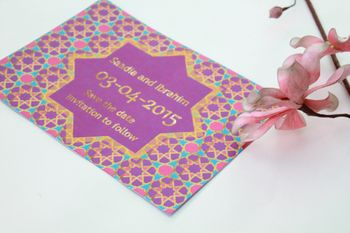 purple and gold moroccan theme invite