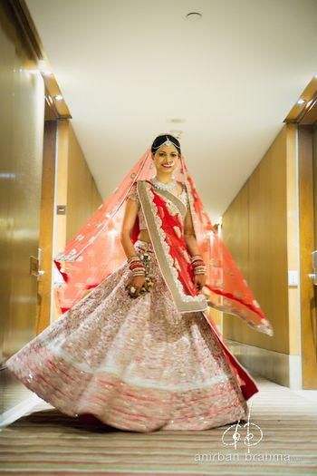 White and Red Twirling Lehenga