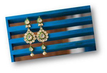 Gold Polki Earrings with Meenakari Work