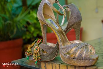 Diamond Glitter Heels and Gold Earrings