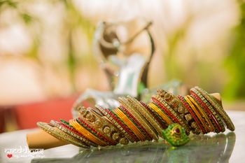 Photo of Red, Yellow and Green Bangles
