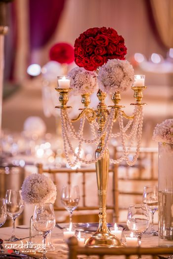Photo of Gold Candelabras with Red Roses Table Centerpiece