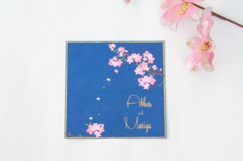 Photo of blue cherry blossom invitation card