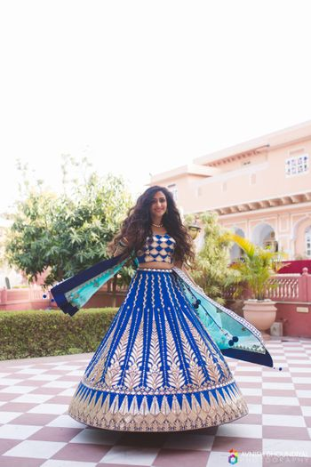 Photo of Royal Blue and Turquoise Twirling Lehenga