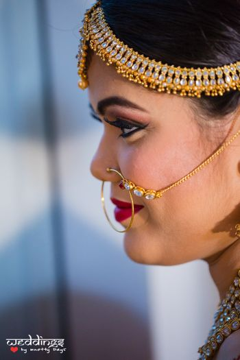 Gold Mathapatti with Diamond Studs
