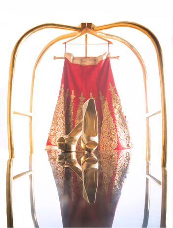 Gold Peeptoes and Red Hanging Lehenga