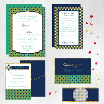 Photo of Jade green and navy blue invitation inserts