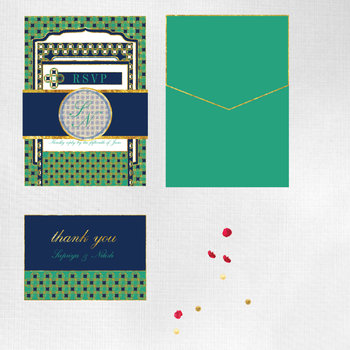 Photo of Navy blue  and green invitations