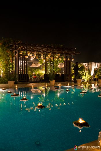 Poolside Venue Dim Light Decor