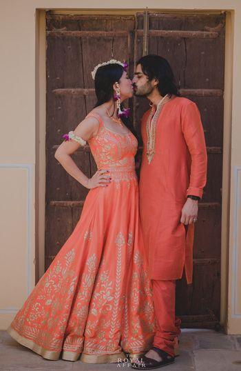 Peach Couple Kissing Shot