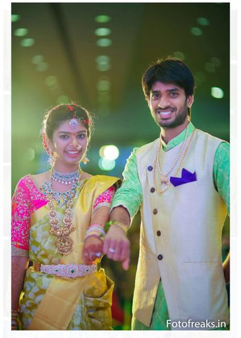 South Indian bride and groom on wedding