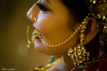 Polki Earrings with Gold Nosering