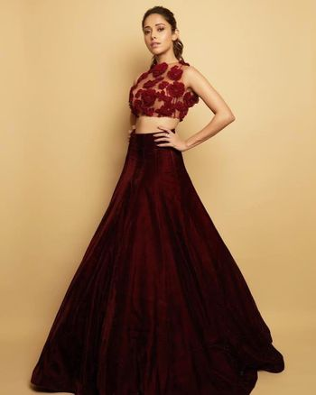 Photo of Deep maroon lehenga and 3d design blouse for cocktail night.