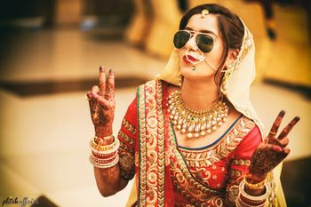 Bride Wearing Aviators Shot