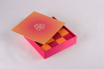 Photo of Ombre pink and orange wedding card box