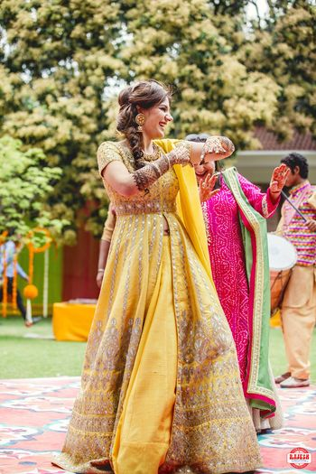 Yellow and Gold Floor Length Anarkali