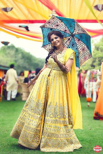 Light Yellow and Gold Anarkali Bride with Umbrella