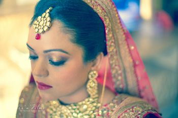 Copper Eye Makeup with Polki Jewelry