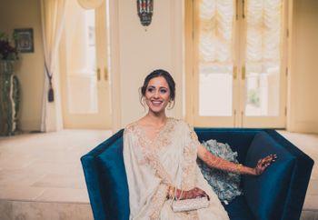 Bride in Off White Saree Candid Shot