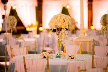 White Table Settings Decor - Floral Candelabras