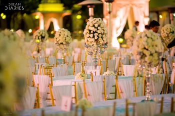 White and Gold Seating with Floral Centerpiece