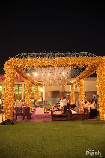 Photo of Yellow Floral Mandap Canopy