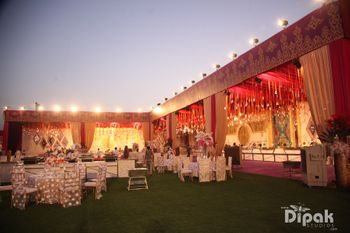 Outdoor Venue with Red and Yellow Decor