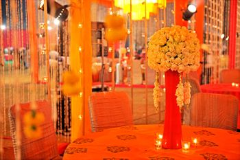 Table Settings Decor - Orange Themed Floral Centerpiece