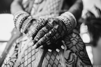 black and white bridal hands shot