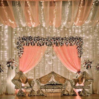 Stage decor  with fairy lights and peach