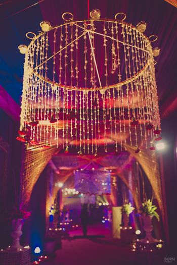 Photo of Floral Chandelier as Entrance Decor