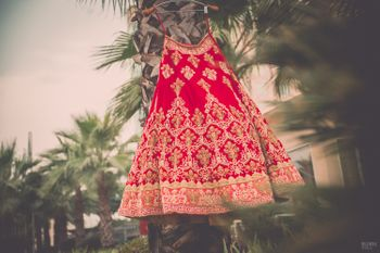 Photo of Red velvet bridal lehenga