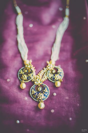 Photo of Pearl String Necklace with Gold Meenakari Pendant