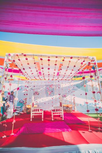 White Mandap Decor with Floral Strings