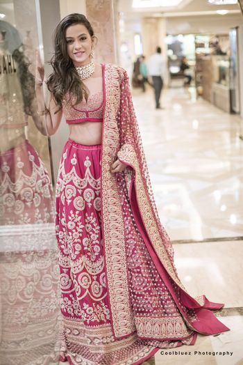 Dark Pink and Gold Lehenga with Zari Work