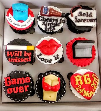 Bachelorette themed cupcakes