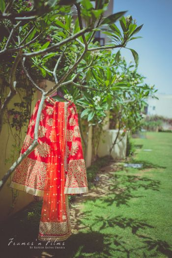 Red and Golf Motifs Bridal Lehenga on a Hanger