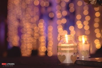 Mason Jars with Heart Prints and Candle Decor