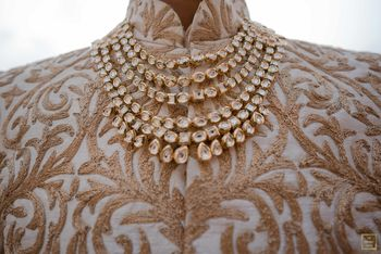A multi-layered polki necklace for grooms