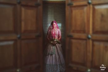 Photo of Beautiful bridal entry portrait .
